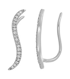 0.10 ct. t.w. Curve Diamond Earrings in 10K White Gold