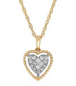 10K Yellow Gold 0.20 ct. t.w. Diamond Heart Pendant Necklace
