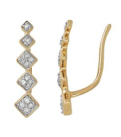 0.10 ct. t.w. Curved Row Diamond Earrings in 10K Yellow Gold