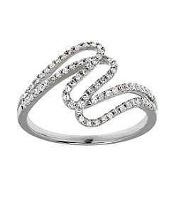 Twisted 10K White Gold 0.25 ct. t.w. Diamond Ring
