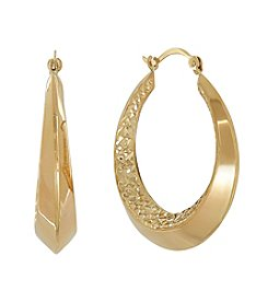 Polished Knife Edge Beveled Hoop Earrings in 10K Yellow Gold