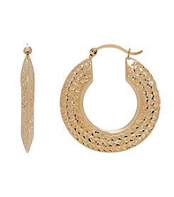 Polished Beveled Round Hoop Earrings in 10K Yellow Gold