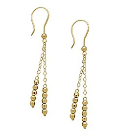 Polished Bead Strand Dangle Earrings in 10K Yellow Gold