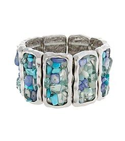 Erica Lyons® Moody Blues Rectangle Stretch Bracelet