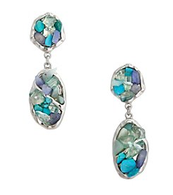 Erica Lyons® Moody Blues Double Drop Clip Earrings