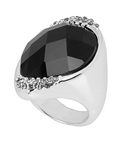 Robert Lee Morris Soho™ Jet Faceted Stone Silver Sculptural Ring