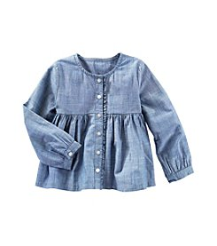 OshKosh B'Gosh® Girls' 3T Chambray Front Button Long Sleeve Top