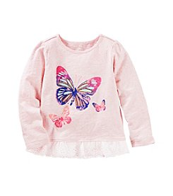 OshKosh B'Gosh® Girls' 2T-6X Butterfly Lace Trim Long Sleeve Tee
