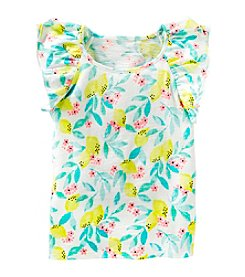 OshKosh B'Gosh® Girls' 2T-8 Lemon Printed Flutter Sleeve Top