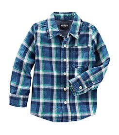 OshKosh B'Gosh® Boys' 2T-7 Plaid Long Sleeve Woven With Pocket