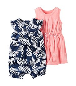 Carter's® Baby Girls' 2-Piece Dress And Printed Romper Set