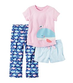 Carter's® Girls' 5-14 3-Piece Whale Pajama Set