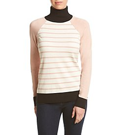 Calvin Klein Striped Color Block Cowl Neck Sweater