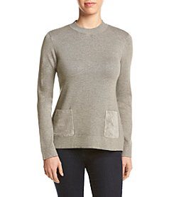 Calvin Klein Scoop Neck Sweater With Suede Pockets