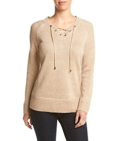 Calvin Klein V Neck Lace Up Sweater