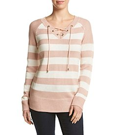 Calvin Klein Striped Lace Up Sweater