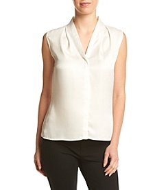 Calvin Klein Pleated V-neck Blouse