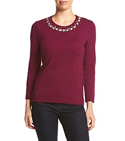 Ivanka Trump® Embellished Neck Sweater