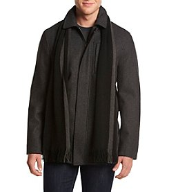 Calvin Klein Men's Big & Tall Melton Wool Coat With Scarf