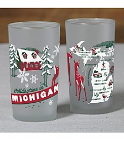 Peninsulas Michigan Holiday Frosted Glass