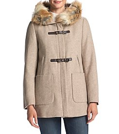 Calvin Klein Faux Fur Collar Walker Coat