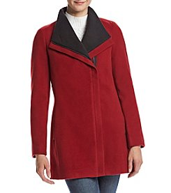 Calvin Klein Two Tone Collar Asymmetrical Zip Coat