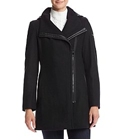 Calvin Klein Faux Leather Detail Asymmetrical Zip Jacket