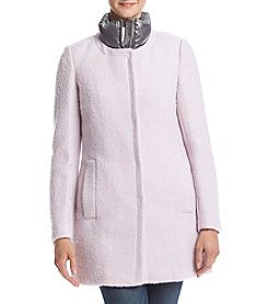 Calvin Klein Asymmetrical Boucle Jacket With Shine Collar
