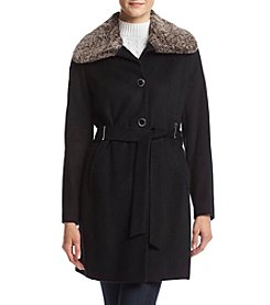 Calvin Klein Tie Front Coat With Faux Fur Collar