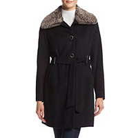 Calvin Klein Tie Front Womens Coat with Faux Fur Collar