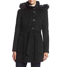 Calvin Klein Tie Front Coat With Faux Fur Hood