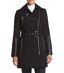 Calvin Klein Zip Front Jacket With Faux Leather