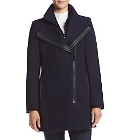 Calvin Klein Zip Front Coat With Exaggerated Collar