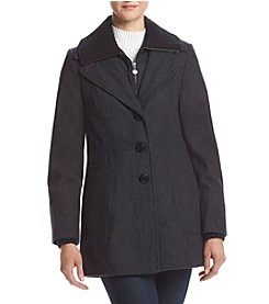 Calvin Klein Ribbed Lapel Button Front Coat