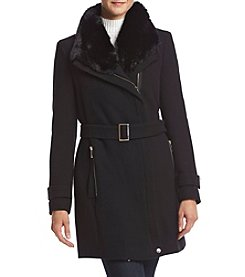 Calvin Klein Asymmetrical Zip With Faux Fur Collar Coat