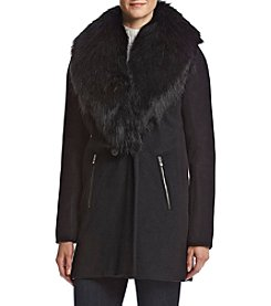 Calvin Klein Exaggerated Faux Fur Collar Walker Coat