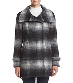 Calvin Klein Ombre Plaid Wool Coat