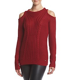 Ivanka Trump® Cold Shoulder Cable Sweater
