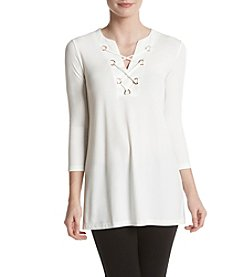 Ivanka Trump® Lace Up Knit Top
