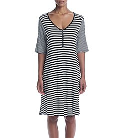 Cable & Gauge® Scoop Neck Front Zip Dress