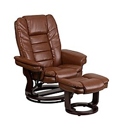 Flash Furniture Contemporary Vintage Leather Swivel Recliner and Ottoman