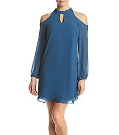 A. Byer Cold-Shoulder Chiffon Dress