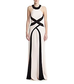 Xscape Ity Halter Two-Tone Dress