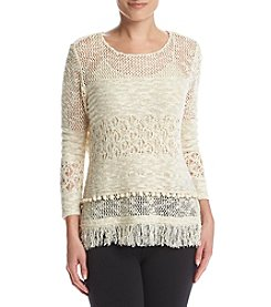 Relativity® Fringe Hem Sweater