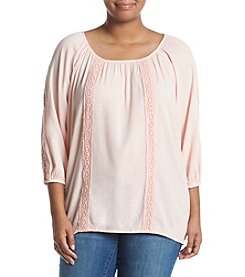 Relativity® Plus Size Insert Lace Peasant Top
