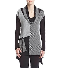 Chelsea & Theodore® Cowl Neck Zip Pocket Top