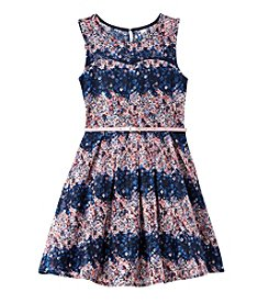 Beautees Girls' 7-16 Floral Lace Fit And Flare Dress