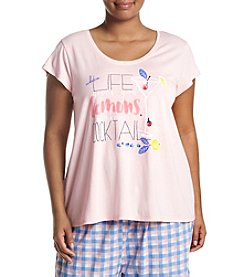 HUE® Plus Size Short Sleeve Pajama Top