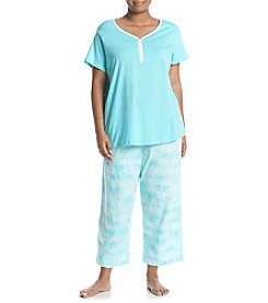 Intimate Essentials® Plus Size V-Neck Henley And Capri Pajama Set