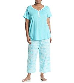 Intimate Essentials® Plus Size V-Neck Henley And Capri Pajama Set